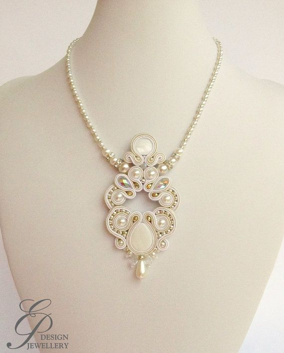 Beautiful Soutache Necklace ivory shell bead and by EditBeadIt