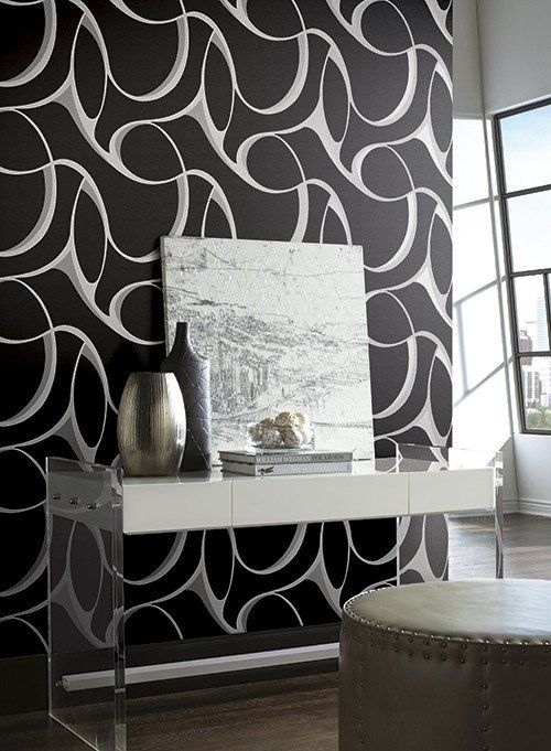 Elliptical Large Geo Wallpaper In Grey Turquoise And Metallic By Yor In 2020 Wall Coverings Black And Silver Wallpaper Silver Living Room #silver #and #black #living #room #ideas