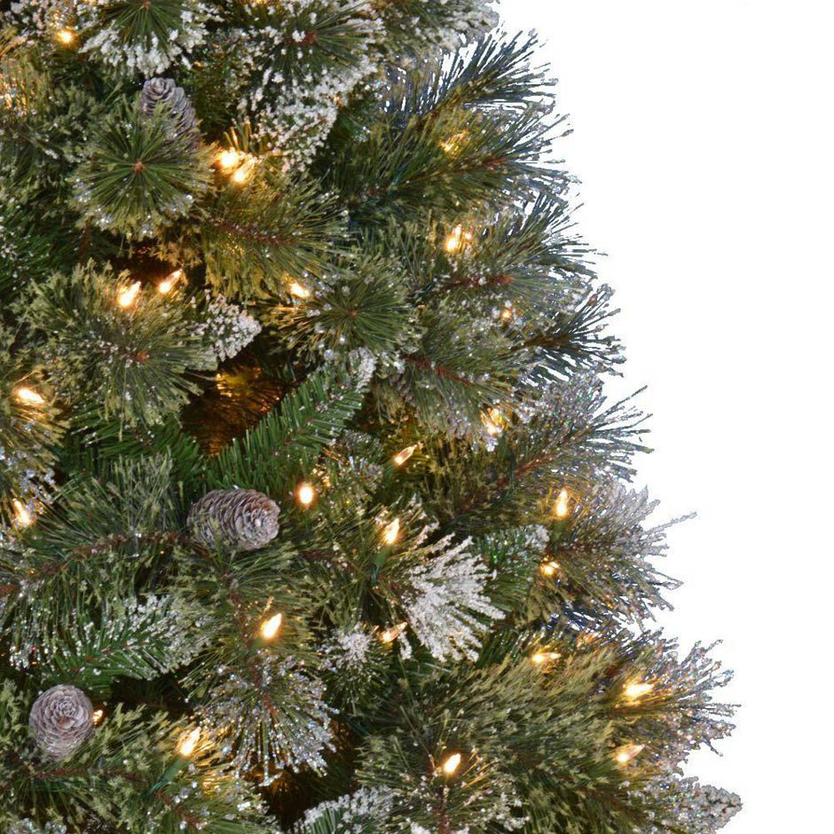 pre lit led sparkling pine quick set artificial christmas tree with warm white lights and pinecones greens home depotmartha - Home Depot White Christmas Tree