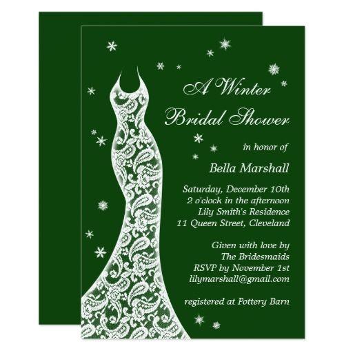 994c3f2094e Lacy Emerald Green Winter Bridal Shower Invitation