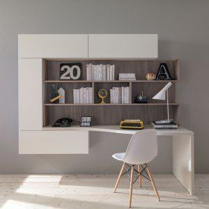 Photo of Study corner in the living room: integrated in the bookcase or in a convertible …