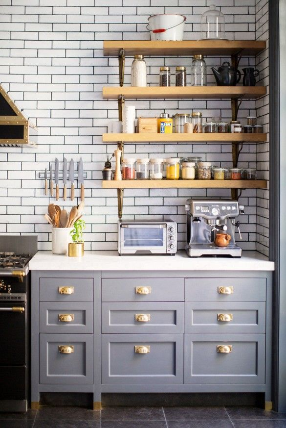 Blue Gray Kitchen Counters With Copper Hardware Classic White Subway Tiles Butcher Block