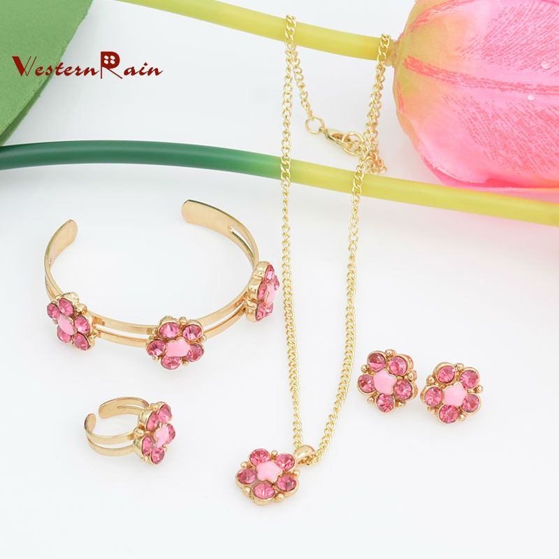 Lovely Pink Green Crystal Flower Children Necklace Kids Baby