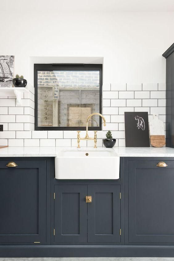 Sink Run And Upper Lower Kitchen Cabinets Painted In Pantry Blue With Aged Brass Ionian