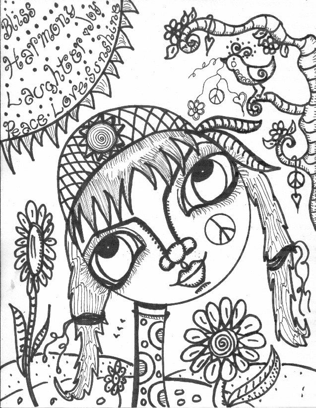 My What Big Eyes You Have Coloring Book Hippie Girl With Big Eyes By Dawncollinsart On Etsy Coloring Books Colorful Art Art Journal Inspiration