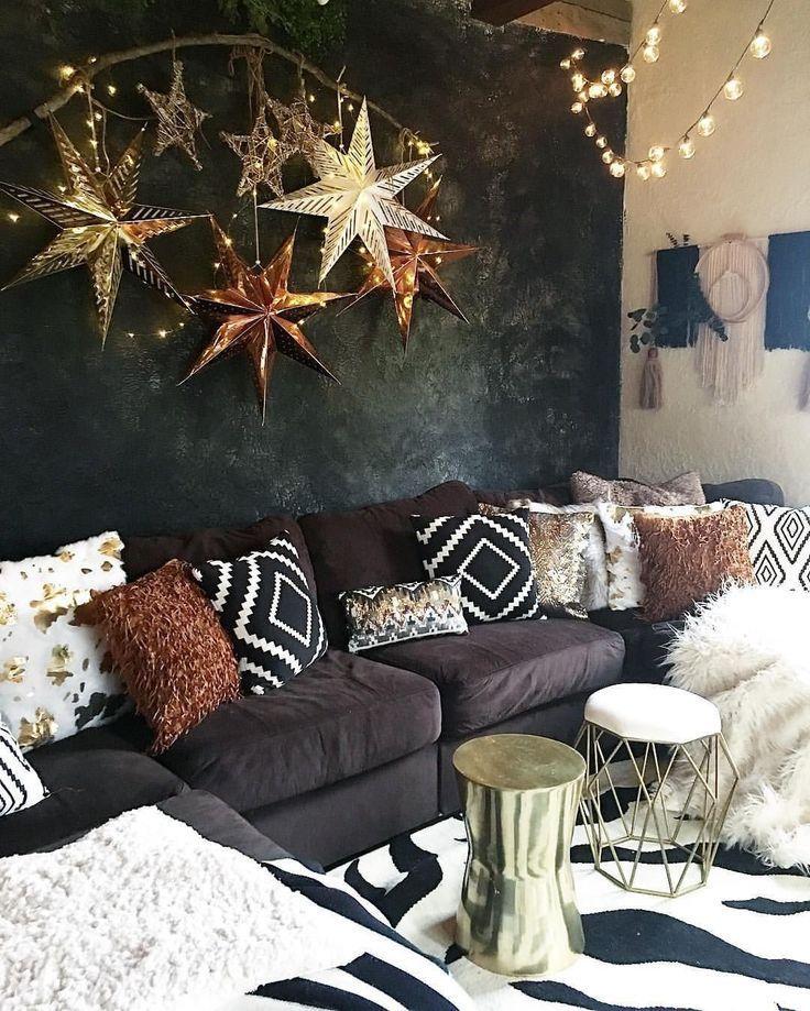 Gold & Bronze & Schwarz-Weiß-Wohnzimmer #bronze #schwarz