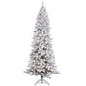 Flocked White on Green Pencil Pine Christmas Tree 6-foot