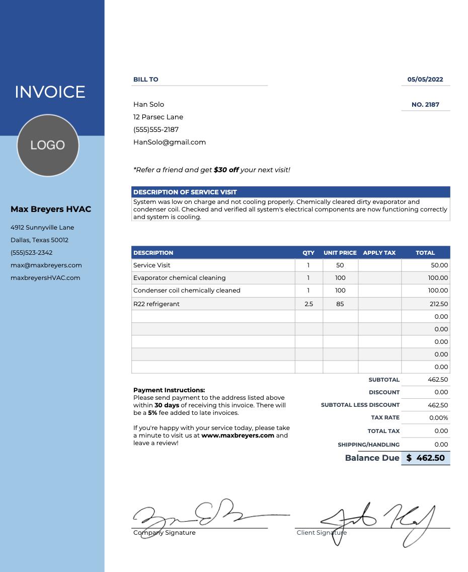 Hvac Invoice Templates Free Invoice Template Hvac Hvac Services
