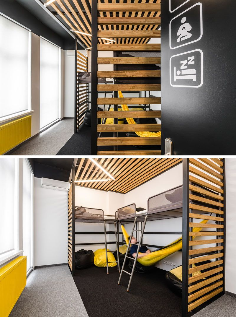 This New Office Interior Uses Wood And Black Frames To Clearly Define Spaces Office Interiors Small Home Offices Modern Office Interiors