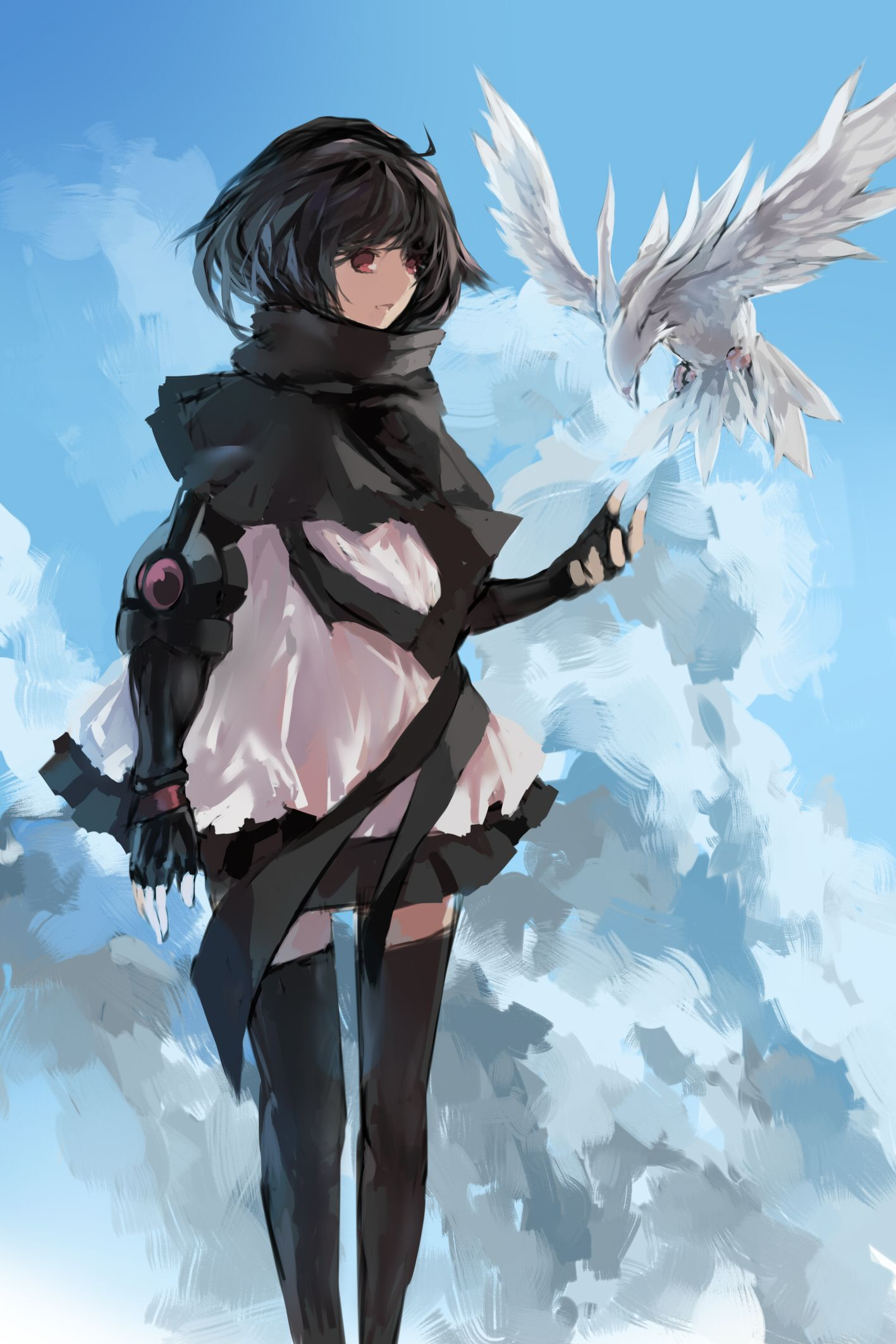 Goth Anime Girl Pretty Black and White Red Eyes