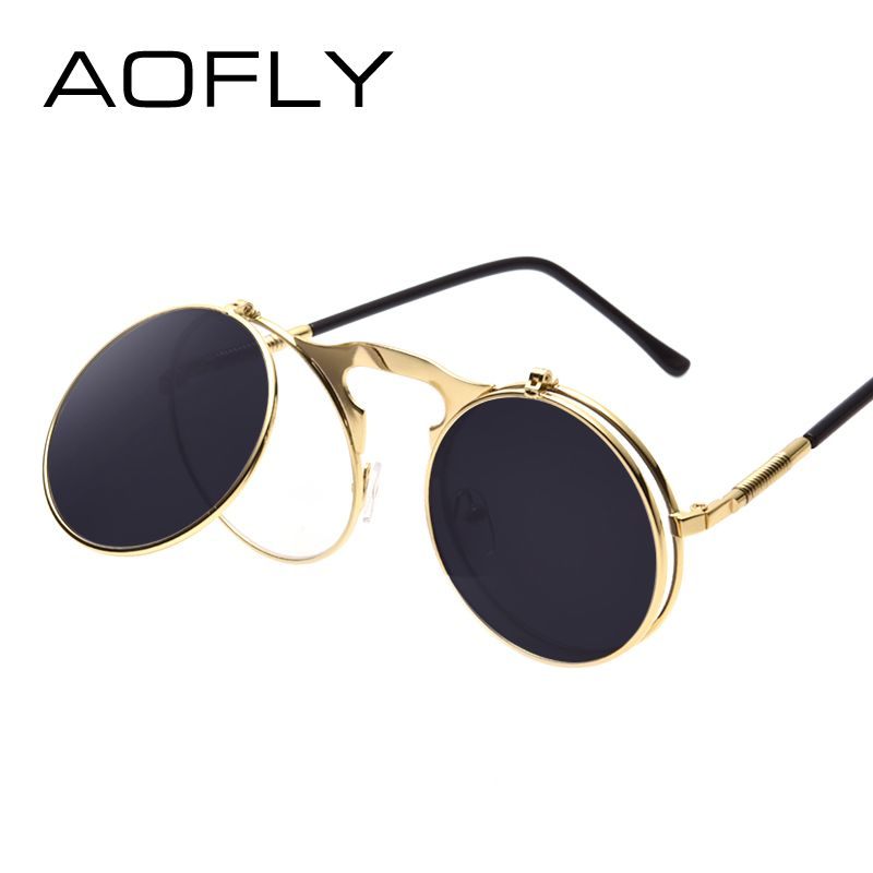 VINTAGE STEAMPUNK Sunglasses round Designer steam punk Metal OCULOS de sol  women COATING SUNGLASSES Men Retro 3198e9a38f