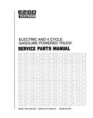 EZGO 27689G01 1993-1994 Service Parts Manual for Electric
