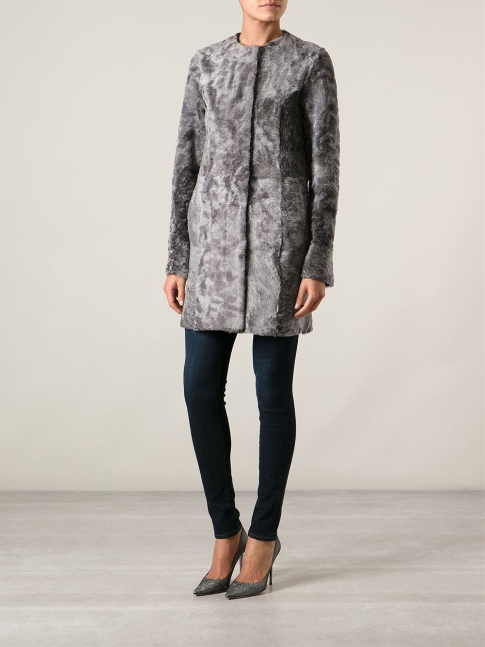 Drome Shaved Mottled Shearling Coat - Feathers - Farfetch.com