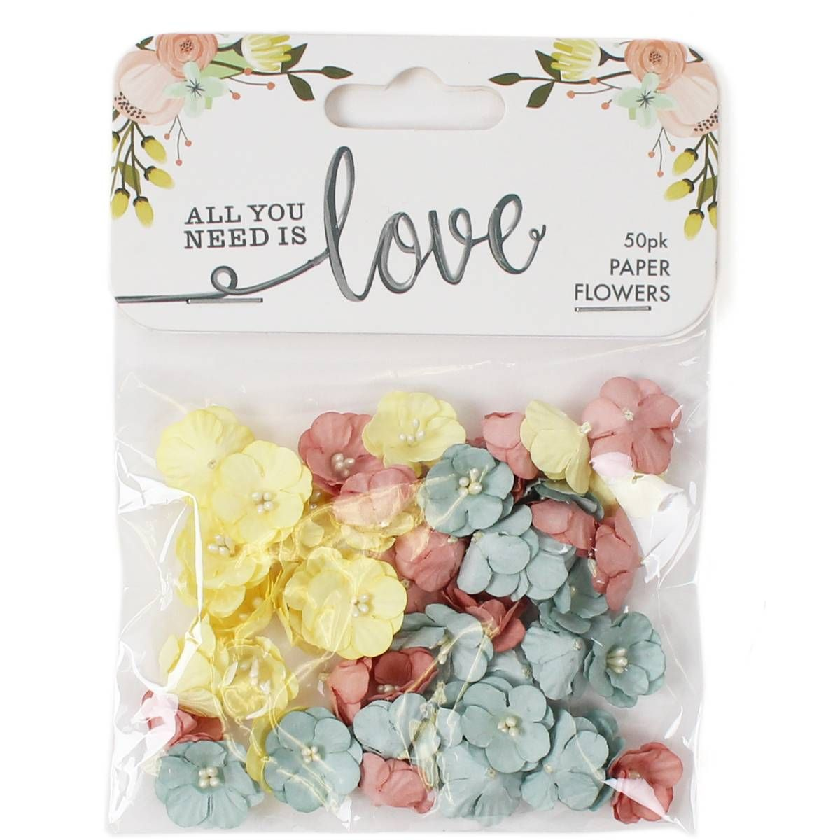 All You Need Is Love Paper Flowers 50 Pack Hobbycraft Craft