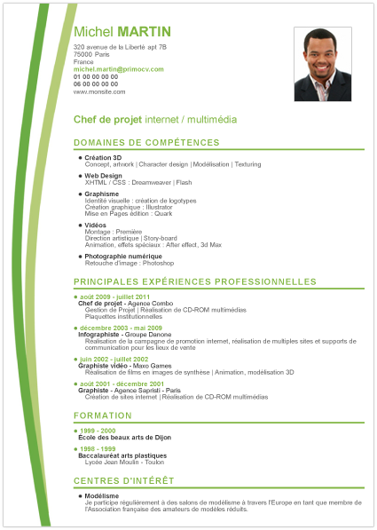 pole emploi cv template