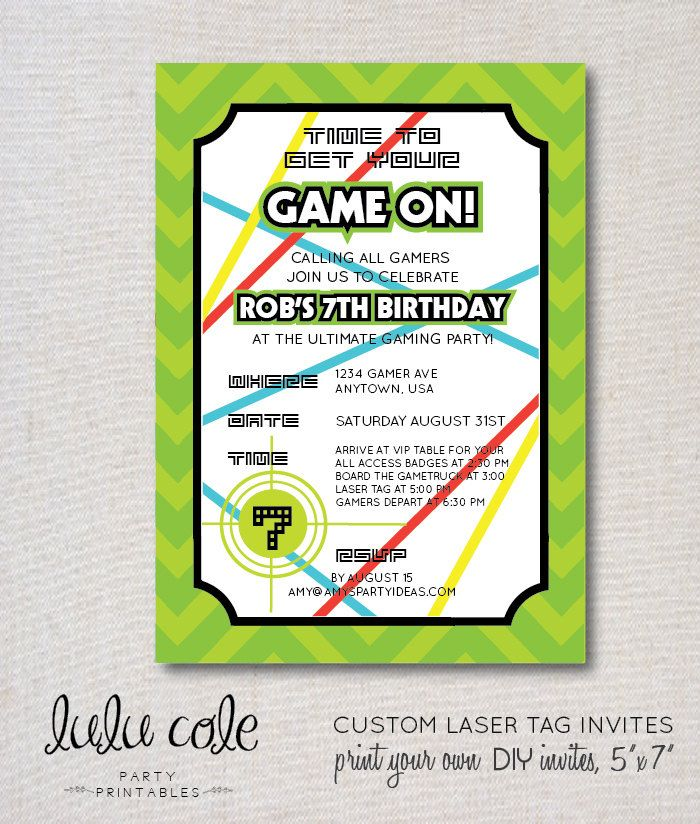 Laser tag paintball birthday invitation 5 x 7 digital file gamer laser tag personalized birthday party invitation printable by lulucole on etsy filmwisefo Images