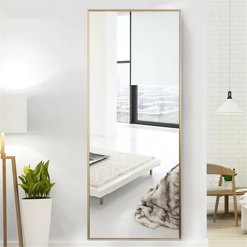 Large Tall Gold Frame Mirror Can Hang On Wall Or Has Stand For Floor Mercury Row Martinsen Full Leng In 2020 Full Length Mirror Full Length Floor Mirror Floor Mirror
