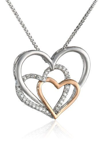 Xpy sterling silver 14k rose gold and diamond triple heart pendant xpy sterling silver 14k rose gold and diamond triple heart pendant necklace aloadofball Images