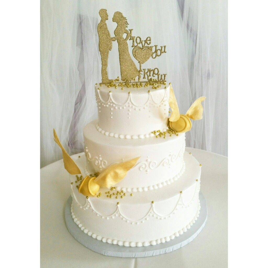 Harry Potter themed wedding cake with hand crafted golden snitches ...