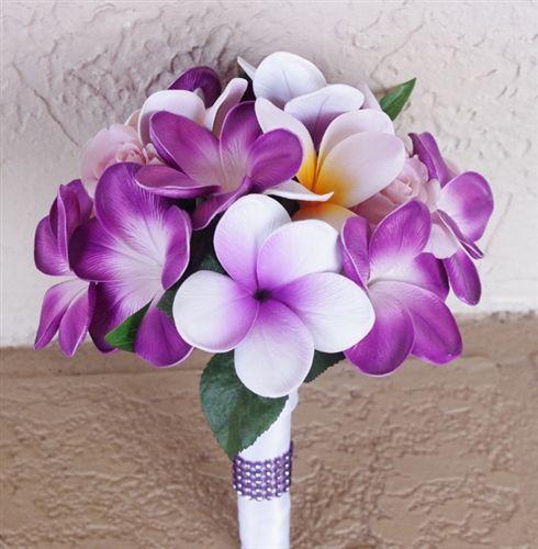 Natural Touch Purple Lilac Plumerias Bouquet Purple lilac