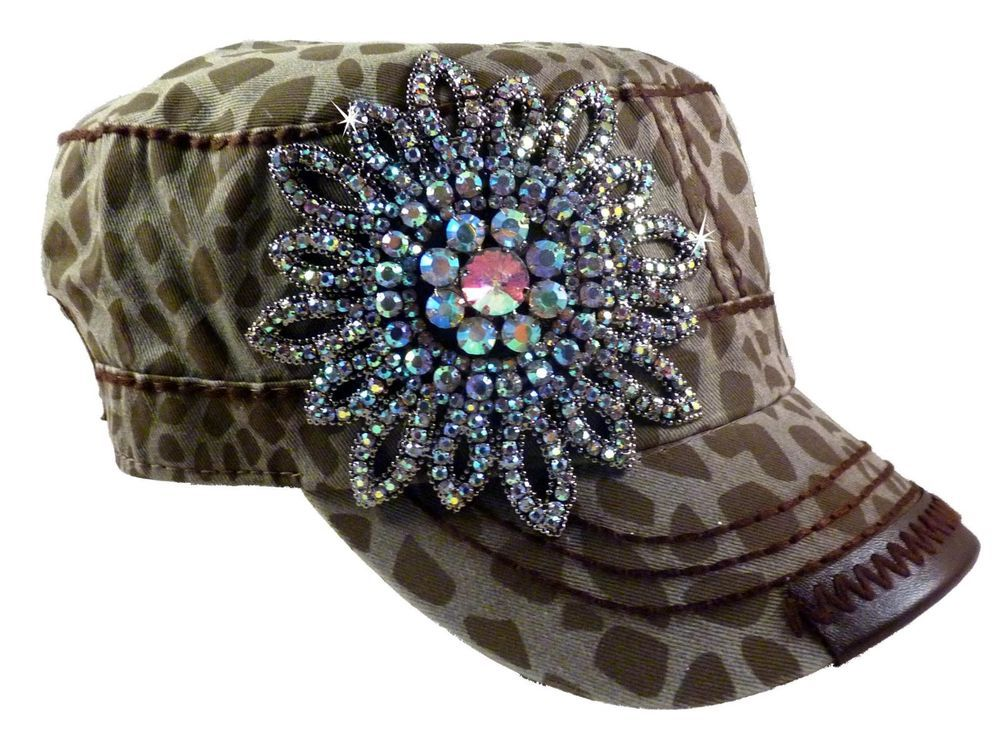 Olive and Pique Super Bling Cadet Cap! Beautiful Rhinestone Beaded Flower in Hats | eBay