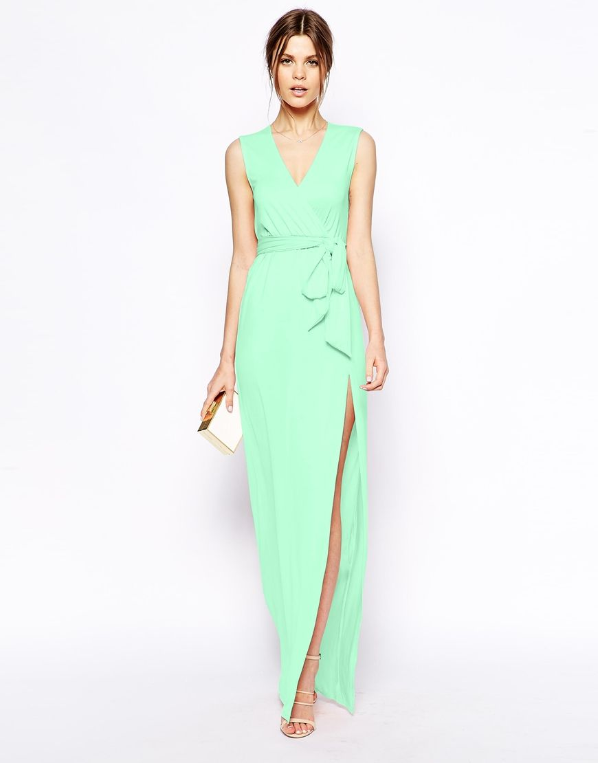 Mint Green Sleeveless Wrap Maxi Dress Wedding Guest Weddingguestdress