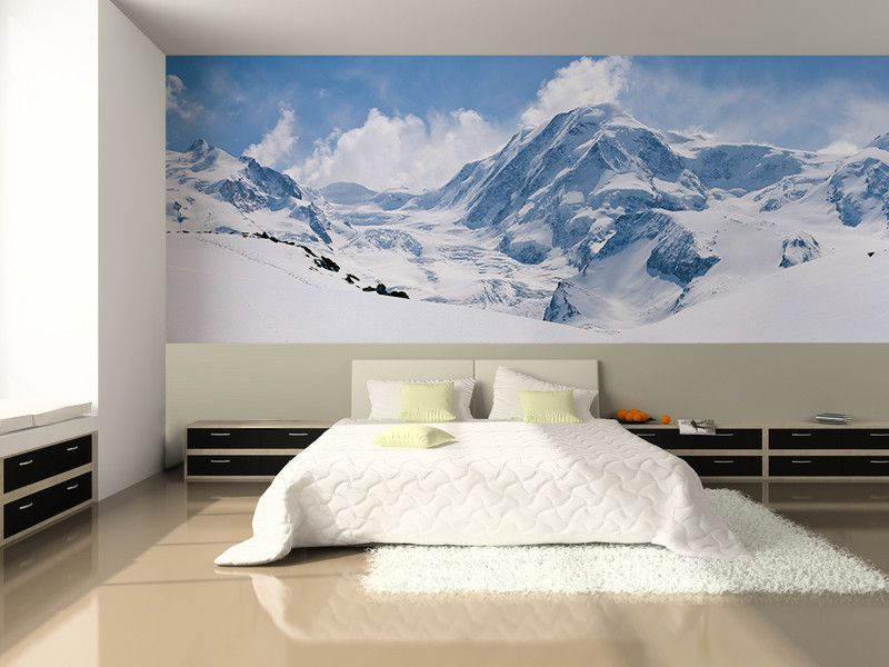 Swiss alps mountain range wall mural mountain range wall murals and decor interior design for Range courrier mural