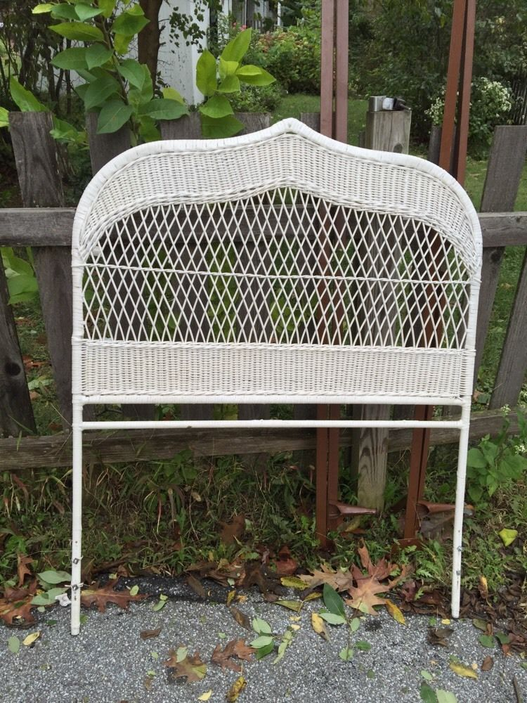 Twin White Wicker Vintage Headboard And Metal Rails For