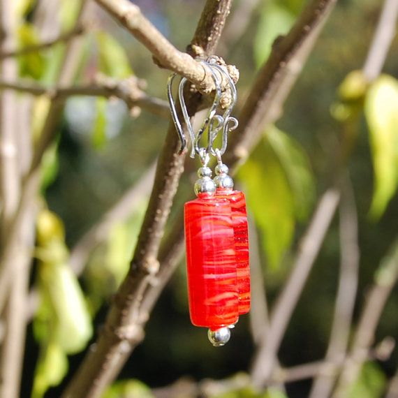 Handmade Red Swirl Glass Tube and Sterling by KarmaKittyJewelry