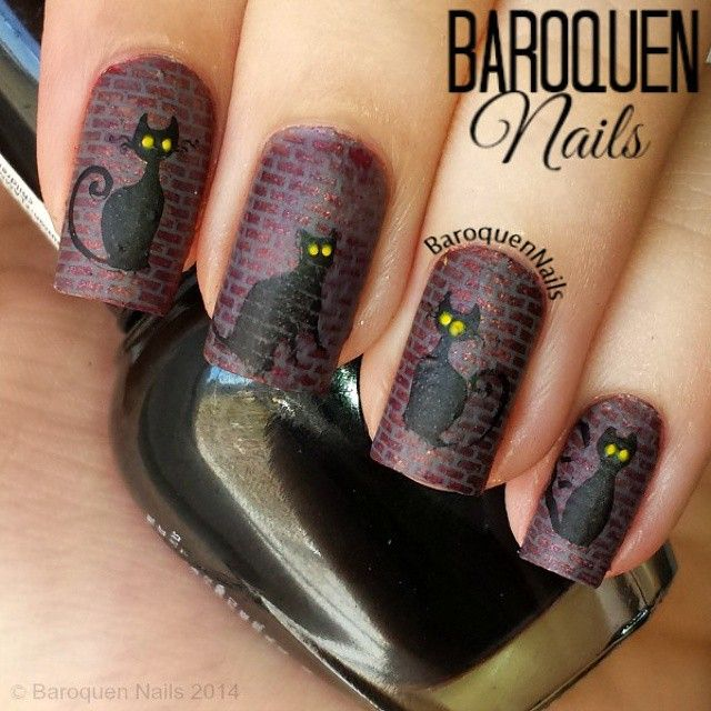 Day 12: Black Cats - Alley Cats using @kleancolor Dark Cherry, Cafe Au Lait, Black, and Neon Yellow. Stamped using #PureIce Kiss Me Here, images from #OBnails xxl plate H, and @bundlemonster plates 422 and 412. Applied matte top coat which smeared the middle kitty and made it kind of see-through so in the spirit of Halloween I'm going to say that is a ghost cat :p hahaha #nailart #nails #halloween #baroquennails #bundlemonster #monsterscream
