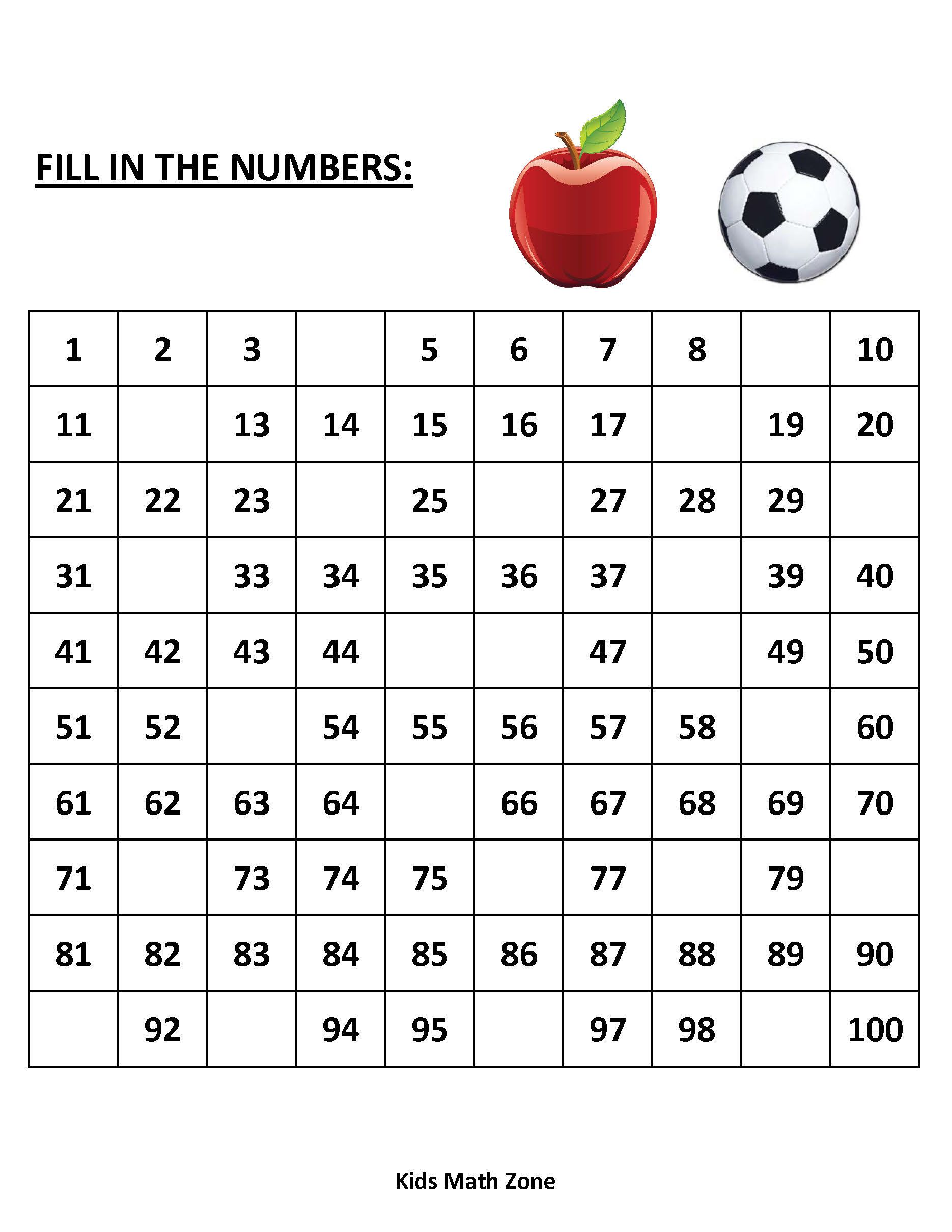 Missing Numbers 1 to 100 (10 Printable Worksheets )/pdf ...