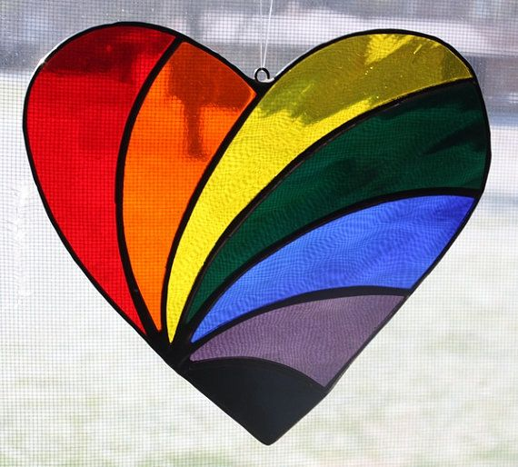 Stained Glass Heart Suncatcher Rainbow Colors by OnlineGlass, $15.00