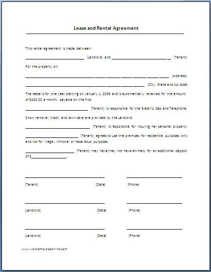 Renters Lease Agreement Real Estate Forms – Auto Rental and Lease Form