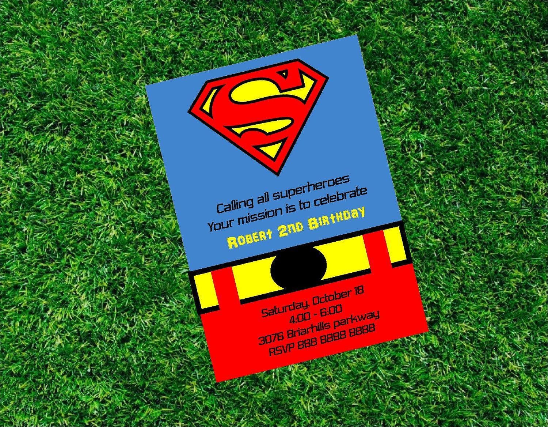 Superman Birthday Printable Invitation Super Heroe Invitation – Superman Birthday Invitations