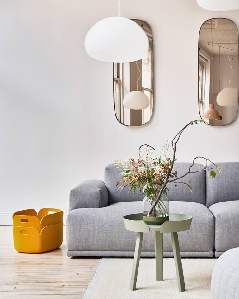 Salon Design Miroir Fume Canape Gris Et Touche De