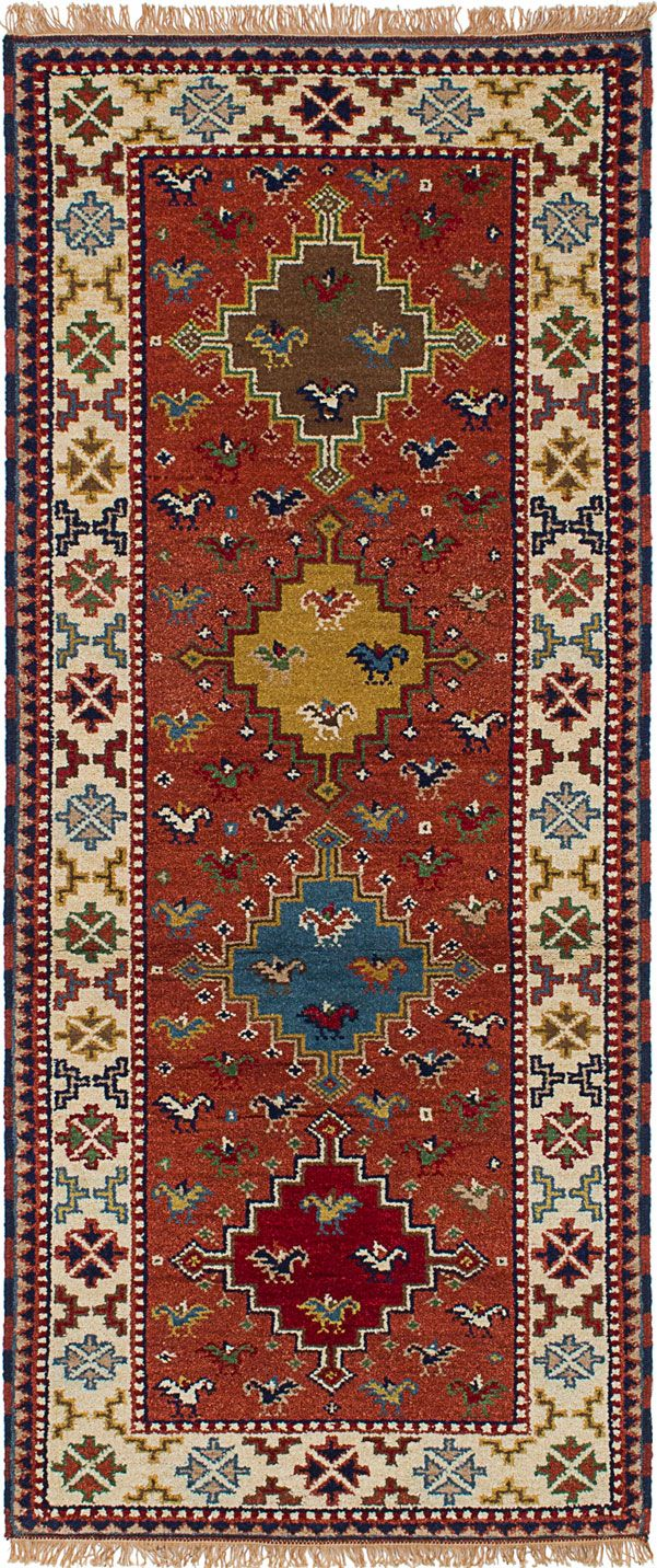 Hand Knotted Royal Kazak Dark Copper Wool Rug Indian Rugs Persian And
