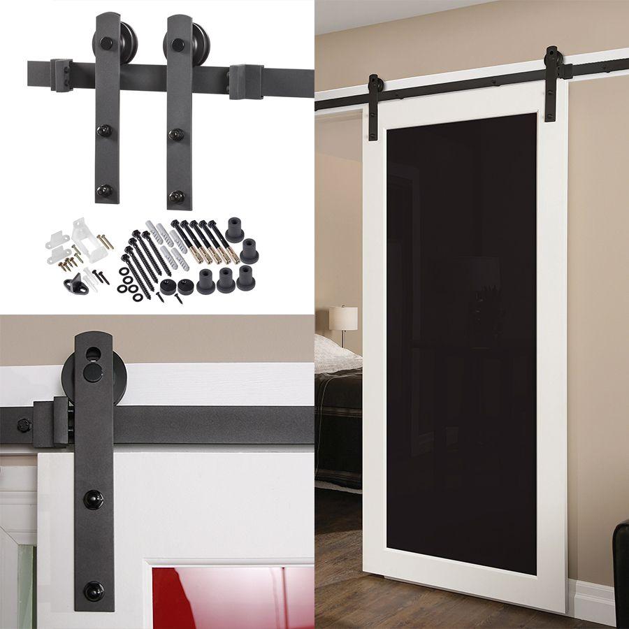 Shop 78.75-in Matte Black Steel Interior Barn Door Roller Kit at ...
