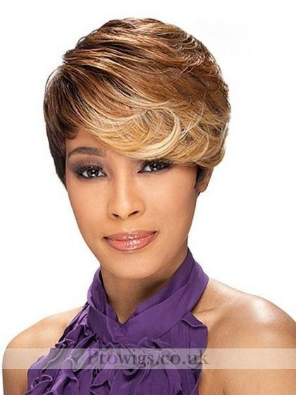 Asymmetrical Style Short Wavy Synthetic Wig, Full Lace