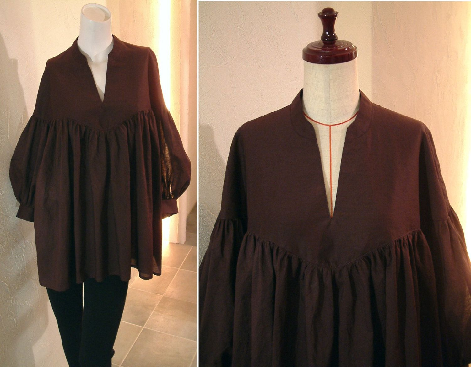 Spring 2016 S/S Purple Chocolate Brown Linen Cotton Voile Balloon sleeves gathered contrast oversized blouse shirt tunic by COCOdake COuture