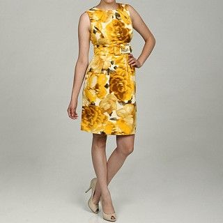 Eliza J Yellow Floral belted dress--great for spring!