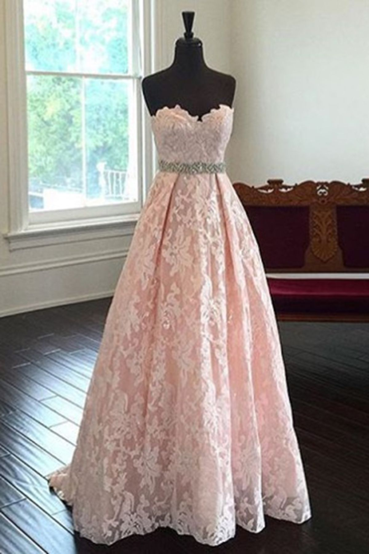 Pink Lace Sweetheart Princess A Line Full Length Prom