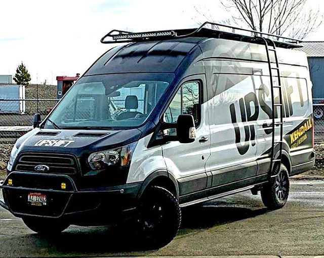 Ford Transit With Aluminess Roof Rack Ladder And Front Light Bar In 2020 Ford Transit 4x4 Van Off Road Bumpers