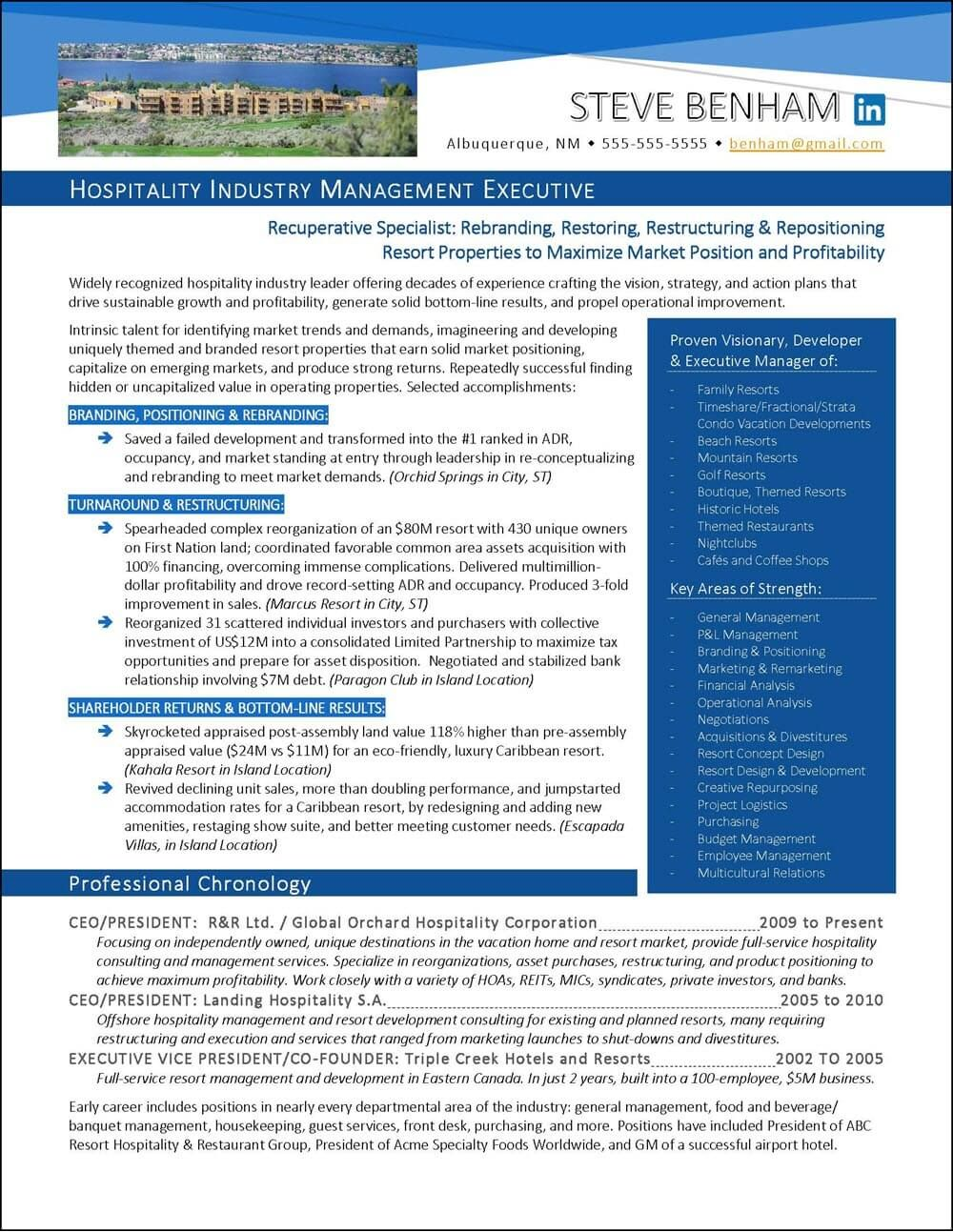 National AwardWinning Executive Resume Examples Executive Cover