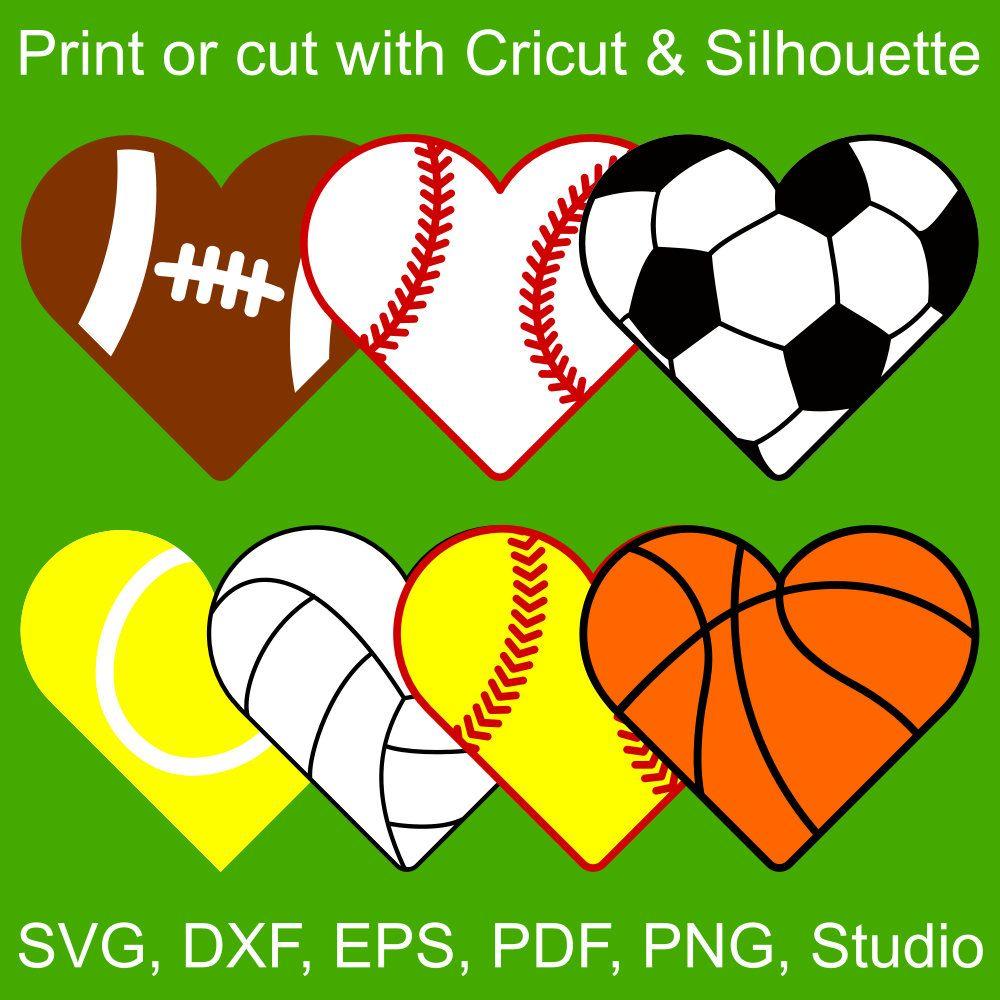Sports Half Hearts Svg Files Football Baseball Soccer Tennis Volleyball Softball And Basketball Printable Cl Svg Files For Cricut Cricut Silhouette Paper