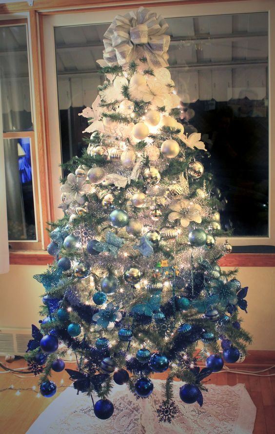 ombre white to royal blue christmas tree - Blue Christmas Trees