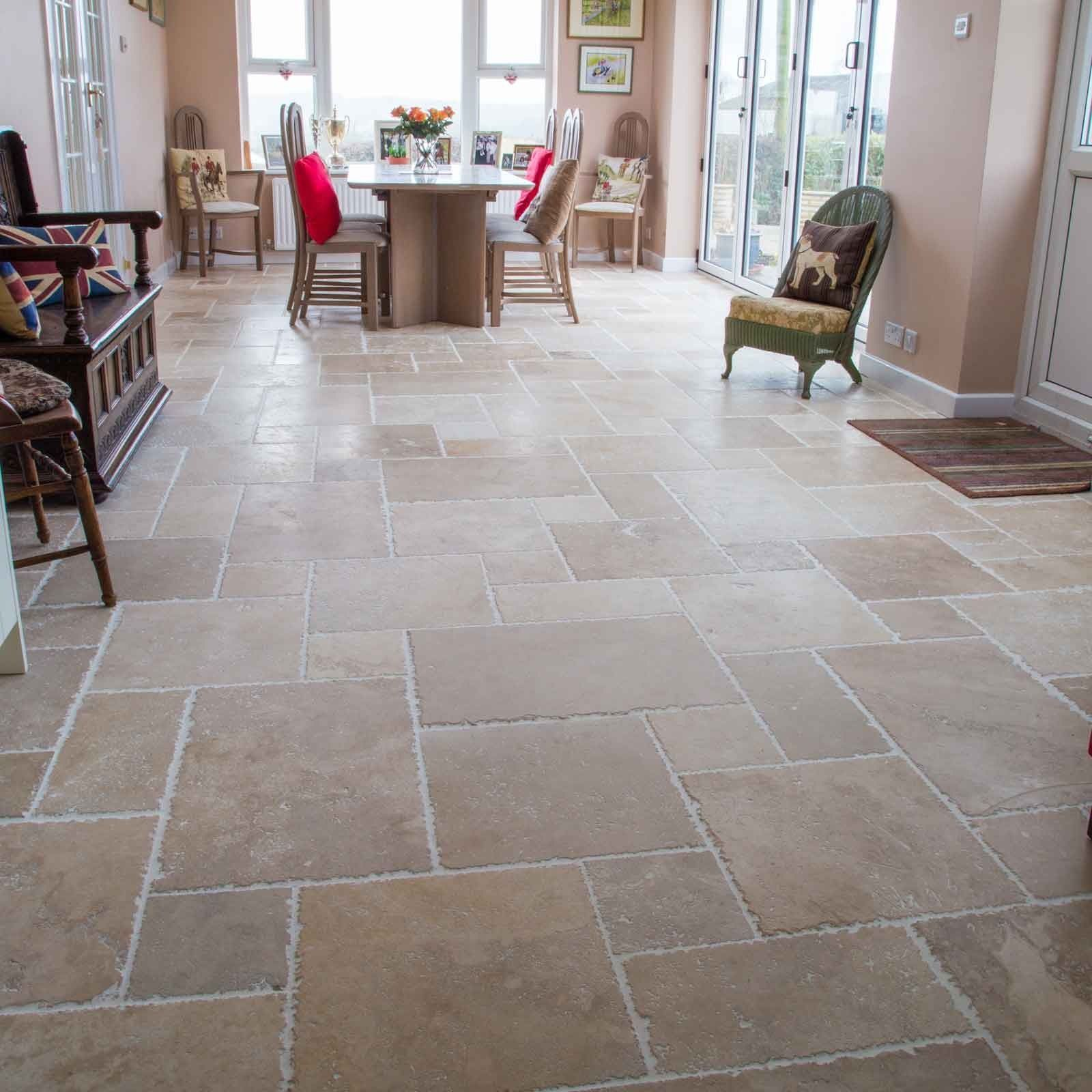 Classic aegean brushed travertine floor tiles natural