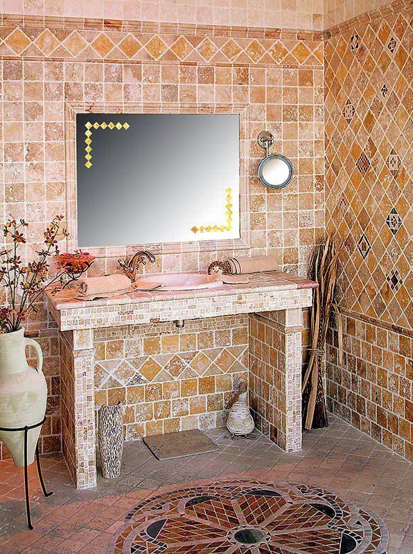 travertin 10x10 jaune beige + vasque encastré Salles de bains - salle de bain rouge et beige