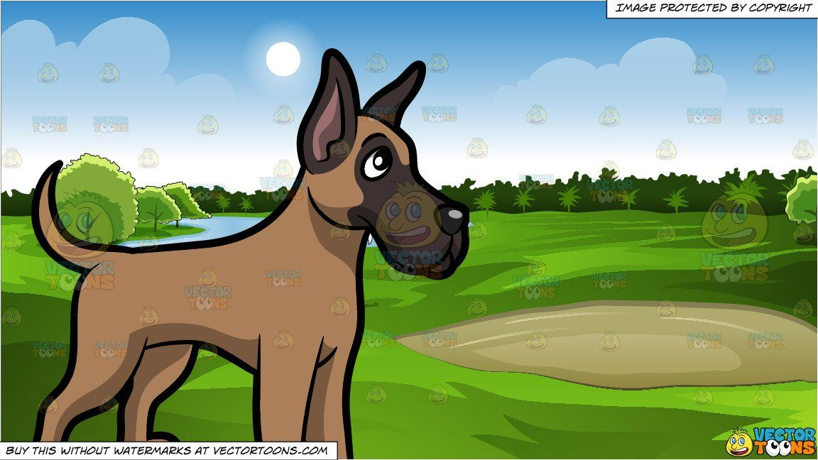 Clipart Cartoon A Cute Great Dane Puppy Standing On All Fours And