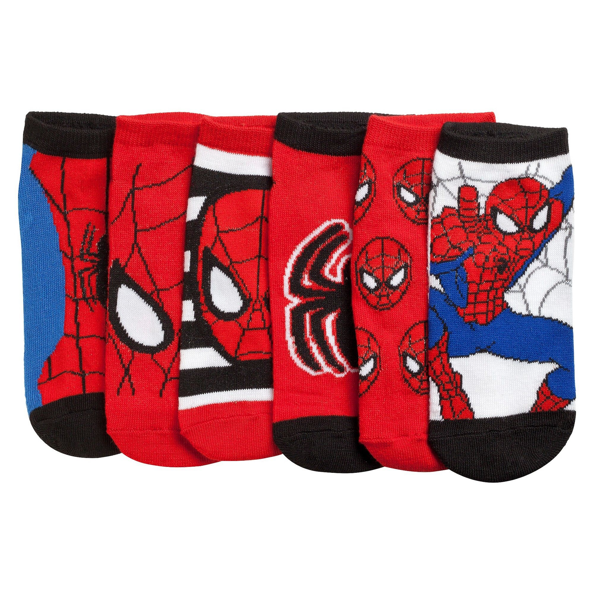 d107198146 Boys' 6-Pack Spider-Man Ankle Socks - Red L, Blue Multicolored ...