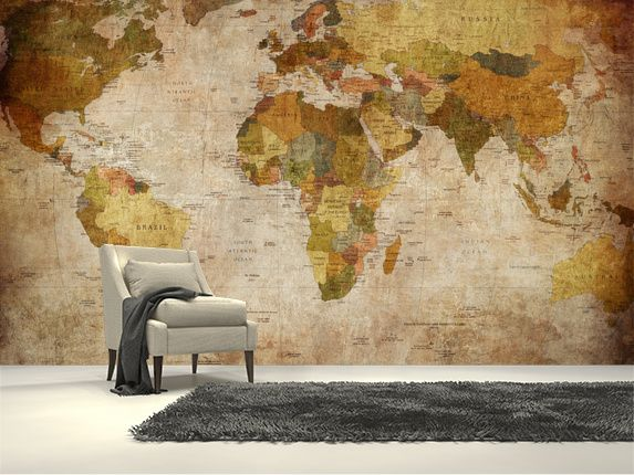 Old style world map wall mural room set wall murals and walls old style world map wall mural room setting gumiabroncs Image collections